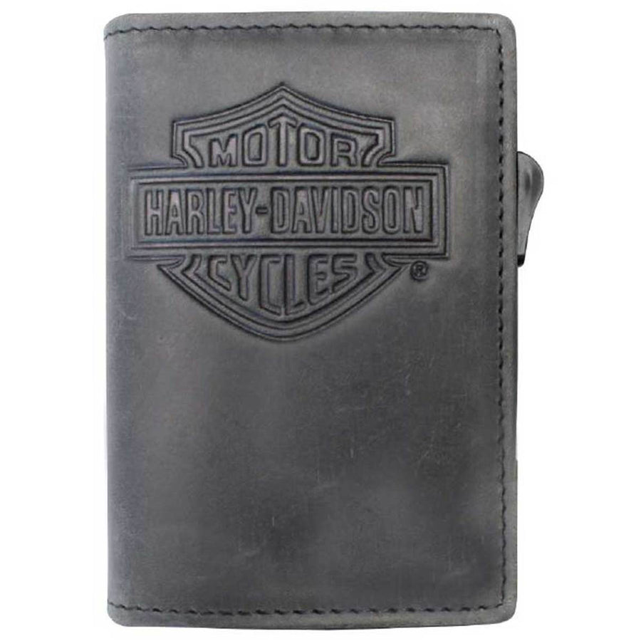 Men's B&S Logo Click Card Case Leather Wallet MCH8428-GRY