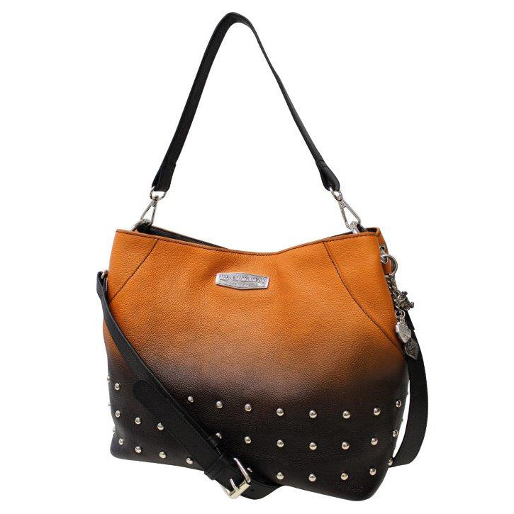 Women's Ombre Studded Hobo Orange Leather Purse OL1413L-ORGBLK