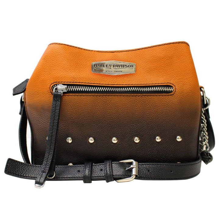 Women's Ombre Studded Crossbody Orange Leather Purse OL1435L-ORGBLK