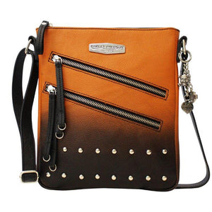 Women's Ombre Studded Vertical Crossbody Orange Leather Purse L1448L-ORGBLK
