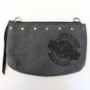 Womens B&S Embroidery Distressed Denim Charcoal Cotton Hip Bag WDD8671