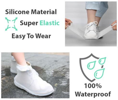 Silicone Outdoor Non-slip Waterproof Shoe Cover Portable Rain Boots Rainproof Shoes Cover Men Women Teens Kids