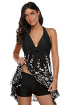 Black Botanical Print Fluttering Layered Tankini Swimsuit