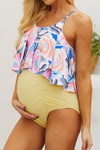 Swimsuitsnova Maternity Swimsuit Floral Top Ruched One Piece Swimsuit High Waisted Pregnancy Women Bathing Suit