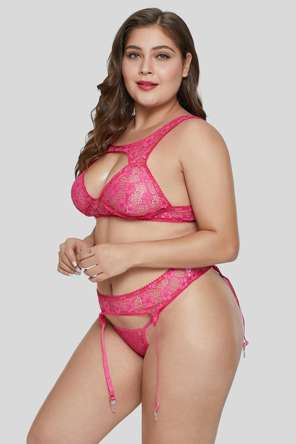 Rose Hollow-Out Bust Bralette Set Mesh Floral Lace Plus Size Lingerie Valentines Day Women