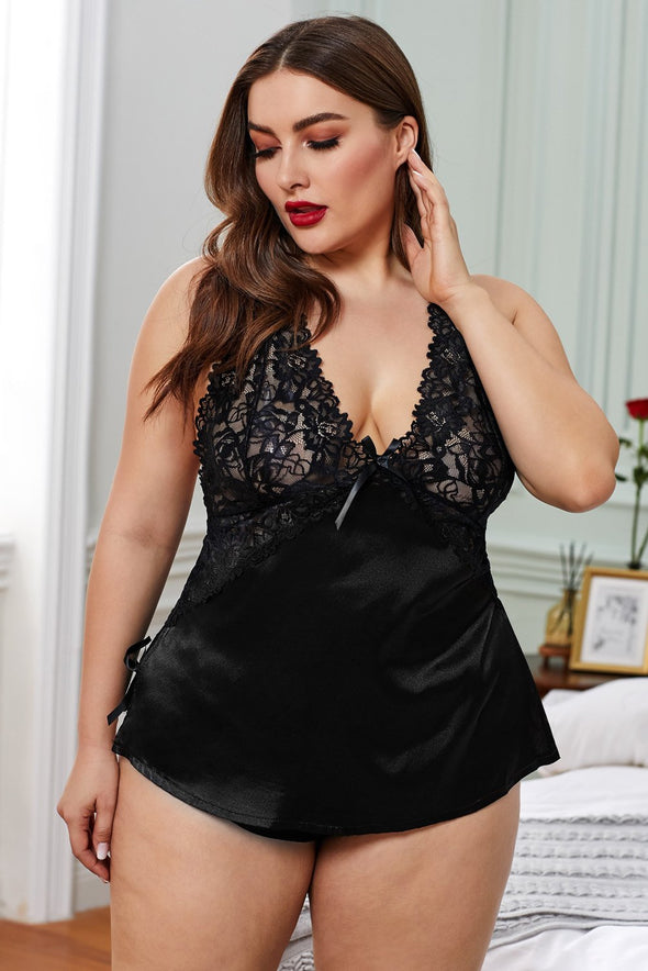 Black Babydoll Sheer Lace Satin Plus Size Lingerie Halter Straps Chemise Open Back Sleepwear Valentines Day Women
