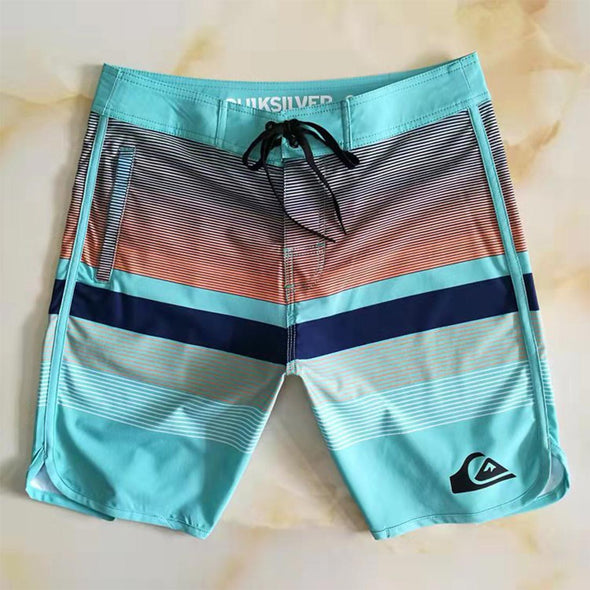 Men'S Swim Trunk Striped Quick-Drying Beach Shorts Swimsuits Bathing Suit Board Short Wokrout Running Shorts