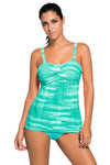 Swimsuitsnova Sky Blue Green Tie Dye Striped Tummy Control Top and Bottom Tankini Set Two Piece Women Bathing Suit