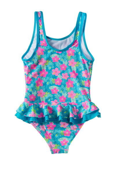 Swimsuitsnova Multicolor Ruffle Floral Girls One Piece Swimsuit Cute Kid Bathing Monokini Quick-Dry