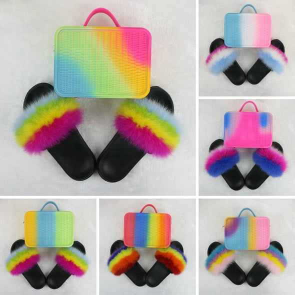 Swimsuitsnova Faux Fur Slides with Matching Jelly Purses Rainbow Fluffy Slides
