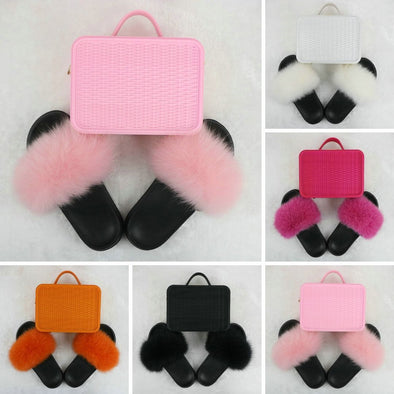 Swimsuitsnova Solid Fur Slides with Matching Crossbody Jelly Purses