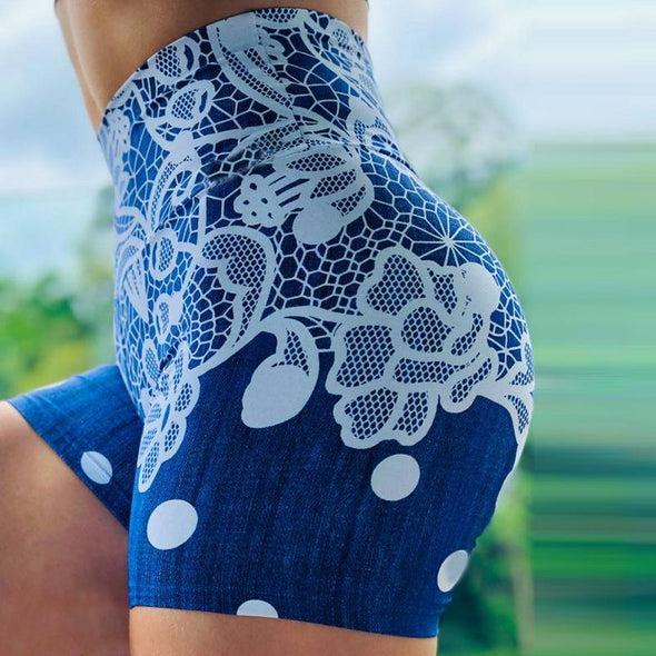 High Waist Push Up Multicolor Abstract Flower Printed Fitness Shorts Ruched Butt Lifting Shorts Quick Dry Yoga Shorts Womens