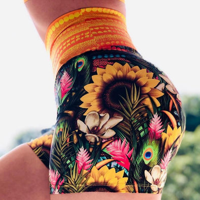 High Waist Push Up Multicolor Sunflower Feather Printed Fitness Shorts Ruched Butt Lifting Shorts Quick Dry Yoga