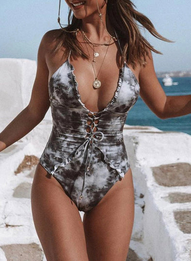 Swimsuitsnova Grey Floral Wire-free One-Piece Swimsuit