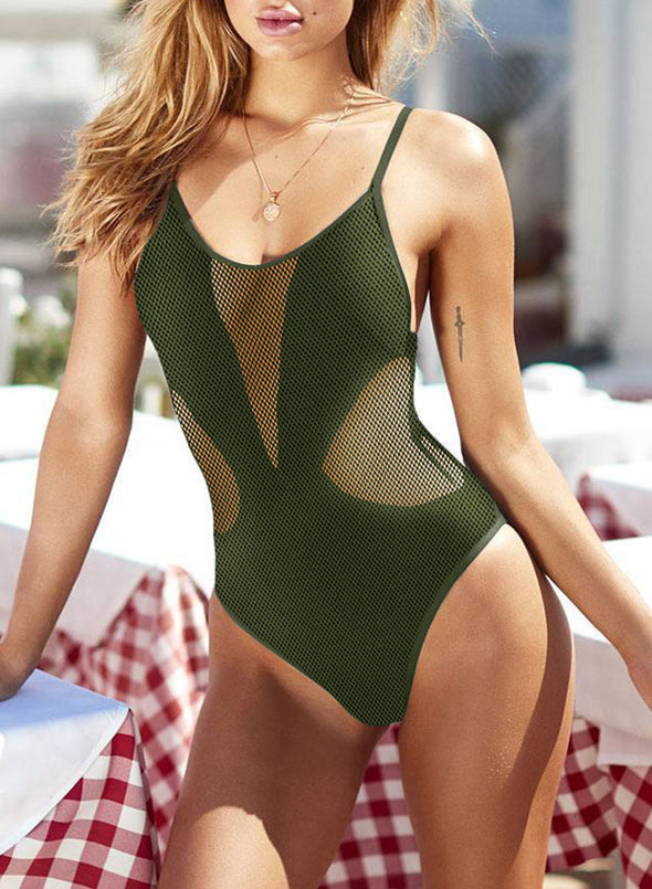Swimsuitsnova Green Basic Solid One Piece Swimsuit