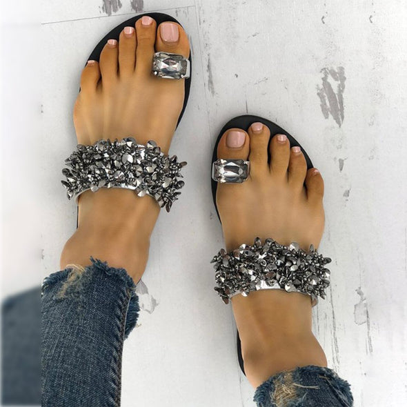 Swimsuitsnova Silver Womens Shiny Toe Ring Flat Sandals