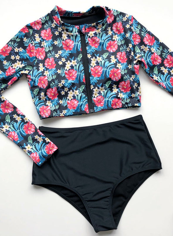 Swimsuitsnova Red High Waist Floral Long Sleeve Rashguard Crew Neck Surfing Zip Front