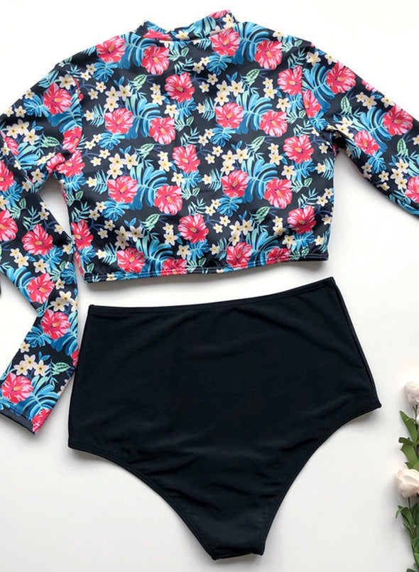 Swimsuitsnova High Waist Floral Long Sleeve Rashguard Crew Neck Surfing Zip Front