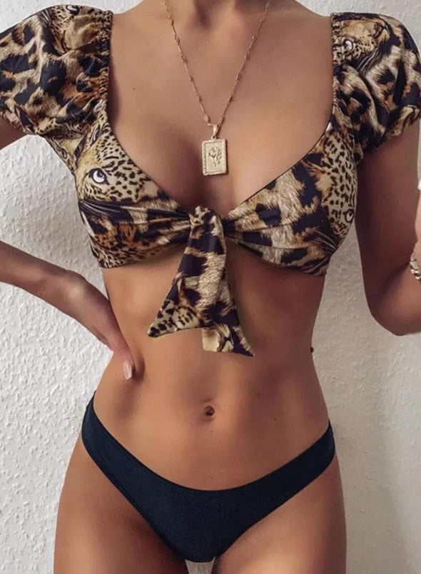Swimsuitsnova Leopard Leopard Print Knot Bikini Set Twisted V Neck Short Sleeve Low Waist Two Piece Swimsuits Women Bathing Suit