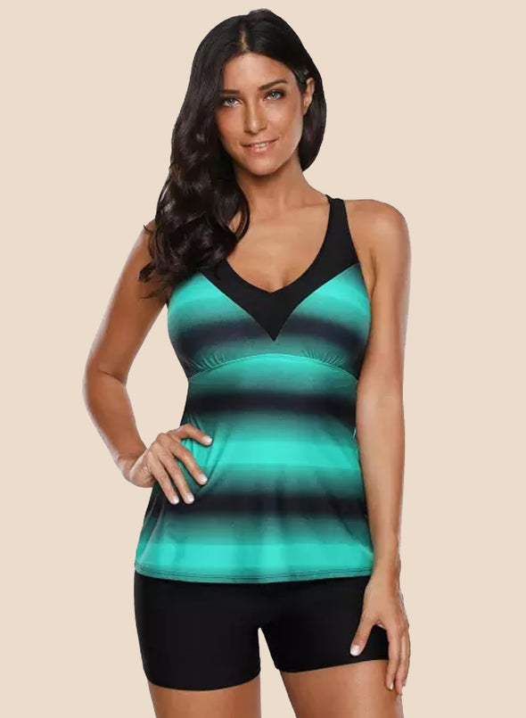 Ombre Print Strappy Tankini And Short Set Two Piece Swimsuit Women Bathing Suit