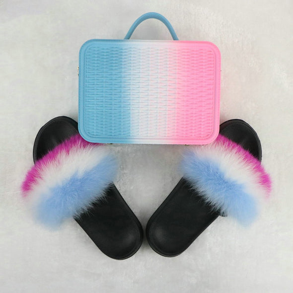 Swimsuitsnova White Faux Fur Slides with Matching Jelly Purses Rainbow Fluffy Slides