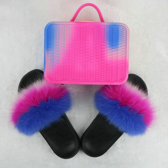 Swimsuitsnova Blue Faux Fur Slides with Matching Jelly Purses Rainbow Fluffy Slides