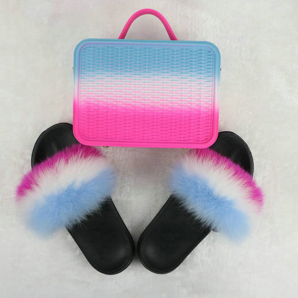Swimsuitsnova Rose Faux Fur Slides with Matching Jelly Purses Rainbow Fluffy Slides