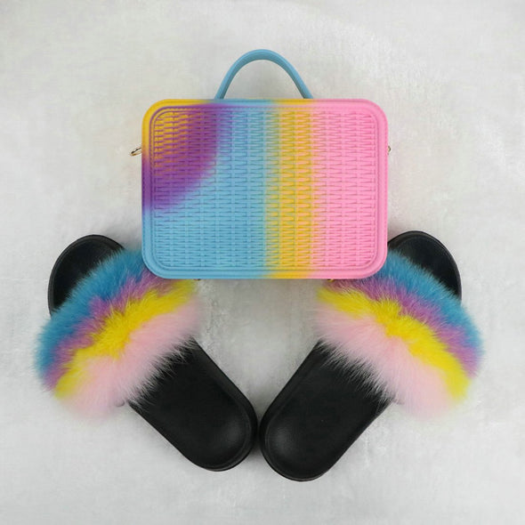 Swimsuitsnova Yellow Faux Fur Slides with Matching Jelly Purses Rainbow Fluffy Slides