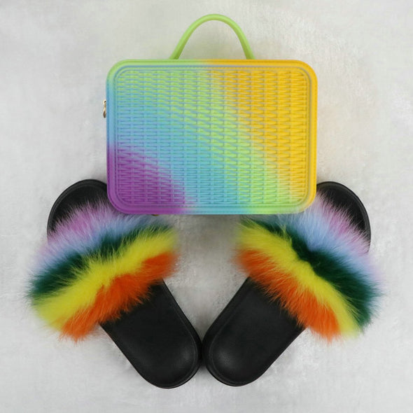 Swimsuitsnova Purple Faux Fur Slides with Matching Jelly Purses Rainbow Fluffy Slides