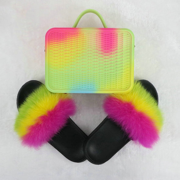 Swimsuitsnova Green Faux Fur Slides with Matching Jelly Purses Rainbow Fluffy Slides