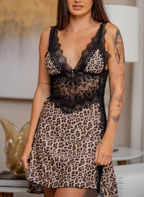 Swimsuitsnova Leopard Lace Leopard Camisola Luxuria Lingerie Dress