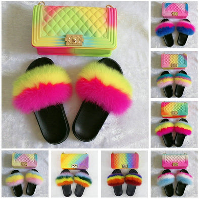 Swimsuitsnova 2020 Hot Sale Rainbow Handbags With Matched Fur Slides For Women