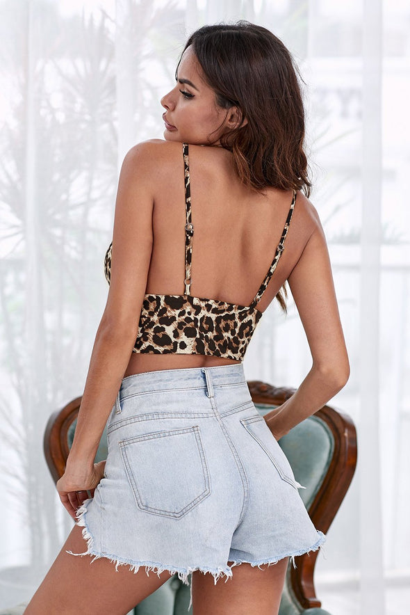 Leopard Bralette Crop Tank Top Spaghetti Straps V Neck Lingerie Bustier Padded Valentines Day Women