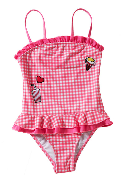 Swimsuitsnova Multicolor Bandeau Ruffle Neck Trim Red Plaid Little Girls Swimsuit Peplum Waist High Cut Panty Cute One Piece Swimsuit Kid Bathing Suit