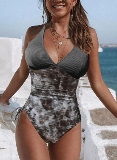 Swimsuitsnova Gray Halter Tie Dye One Piece Swimsuit