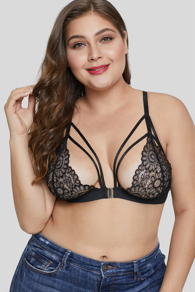 Swimsuitsnova Black Black Floral Lace Cups Bralette Top Strappy Bust Plus Size Lingerie Valentines Day Women Underwire
