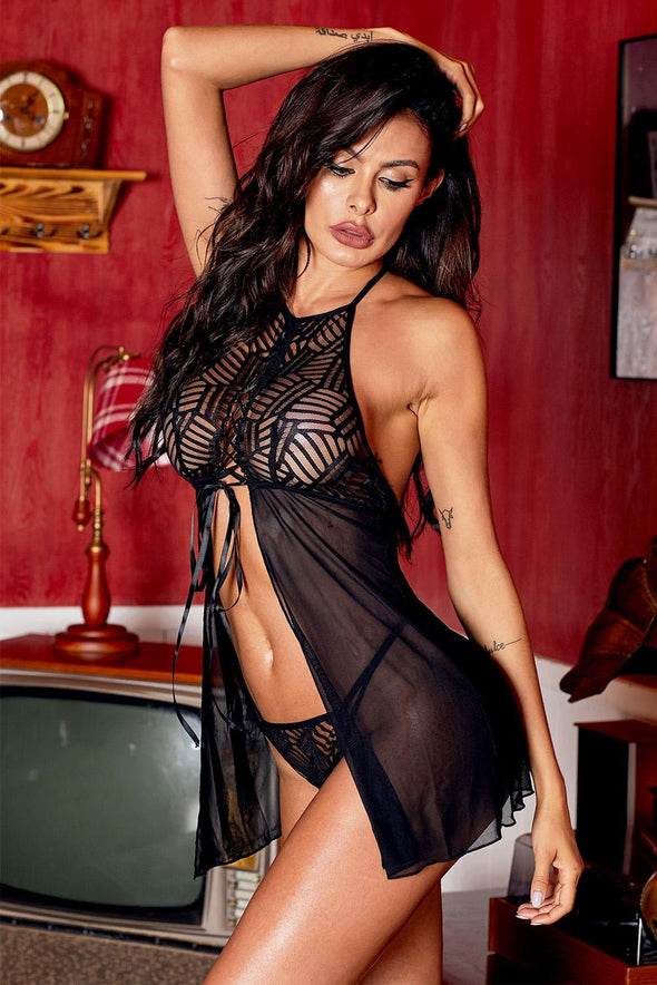 Swimsuitsnova Black High Neck Halter Straps Mesh Babydoll Set Lace Up Front Flyaway Lingerie Valentines Day Women Sleepwear