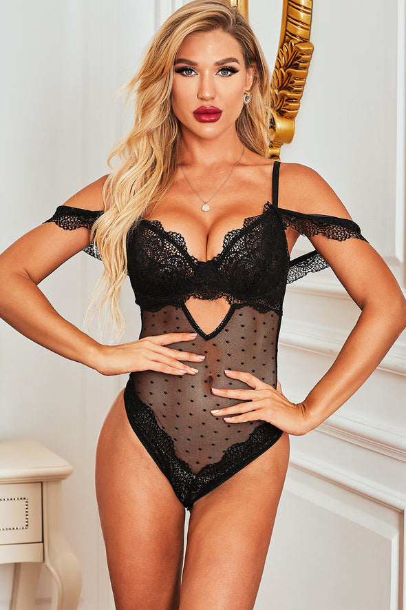 Black Lace Dotted Teddy Lingerie