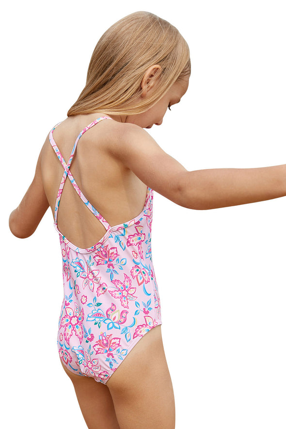 Swimsuitsnova Blue Pink Multi-Layer Ruffles Toddler Girls Maillot Girls One Piece Swimsuit Crisscross Cute Bathing Suits For Girls Kids Swimsuit