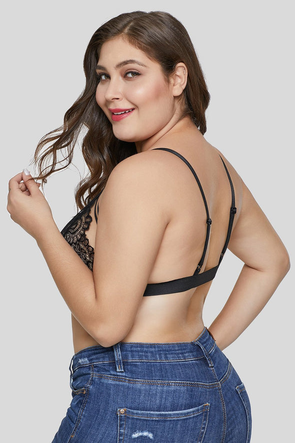 Swimsuitsnova Black Floral Lace Cups Bralette Top Strappy Bust Plus Size Lingerie Valentines Day Women Underwire