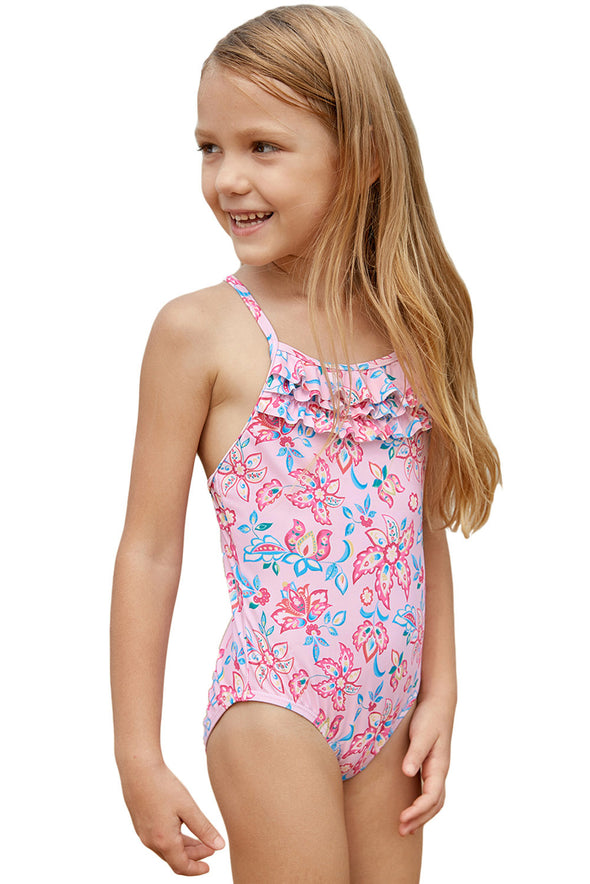 Swimsuitsnova Multicolor Blue Pink Multi-Layer Ruffles Toddler Girls Maillot Girls One Piece Swimsuit Crisscross Cute Bathing Suits For Girls Kids Swimsuit