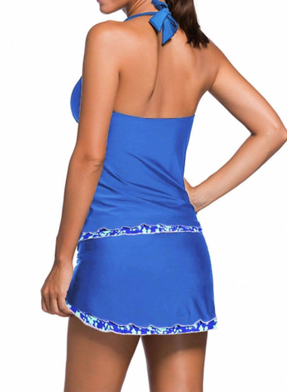Swimsuitsnova Contrast Trim Royal Blue Halter Tankini Skort Swimsuit Swimdress And Shorts