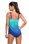 Swimsuitsnova Green Tie Dye Striped Tummy Control Top and Bottom Tankini Set Two Piece Women Bathing Suit