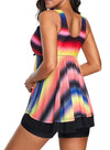 Tie Dye Ombre Swimdress Tankini Set Multicolor Swimsuit