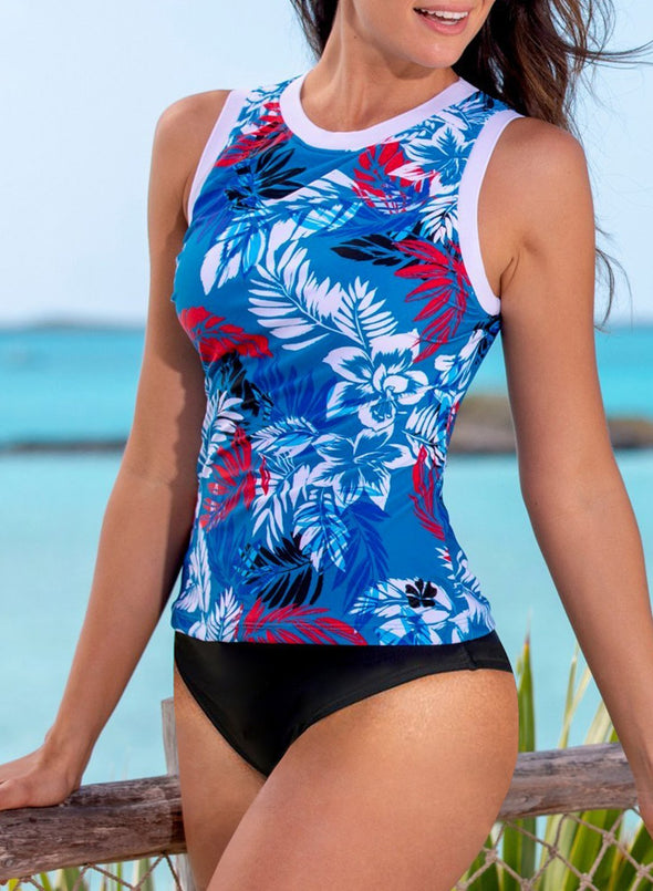 Ethnic Print High Neck Strappy Tankini