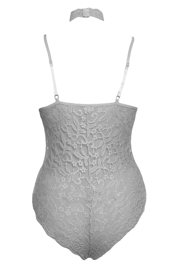 Grey Sheer Lace Choker Neck Teddy Lingerie Floral
