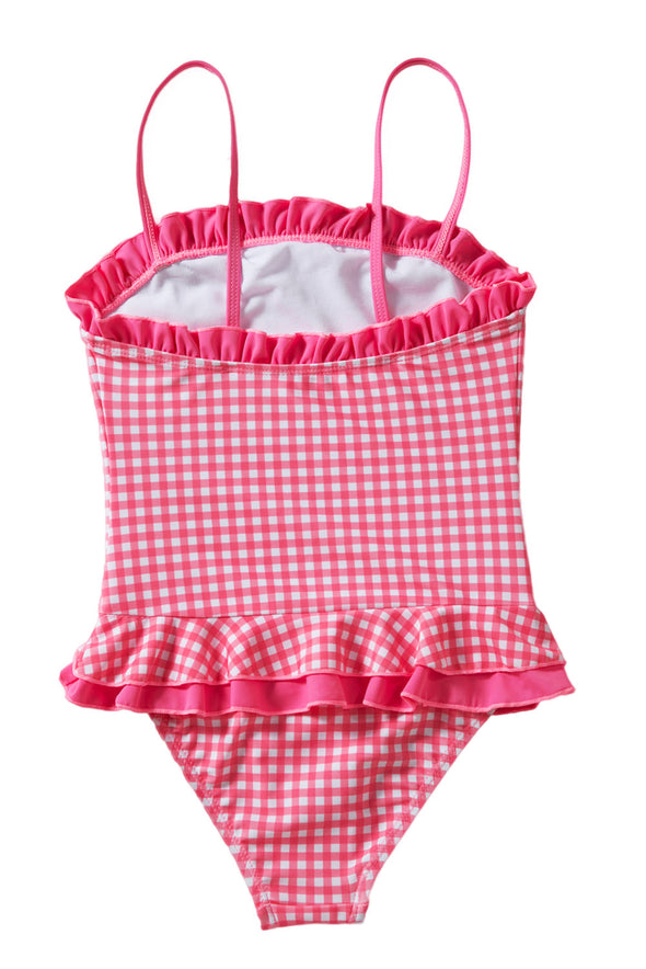 Bandeau Ruffle Neck Trim Red Plaid Little Girls Swimsuit Peplum Waist High Cut Panty Cute One Piece Swimsuit Kid Bathing Suit