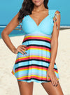 Swimsuitsnova Sky Blue Sky Blue Striped Swimdress Tankini with Shorts