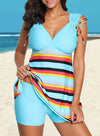 Swimsuitsnova Sky Blue Striped Swimdress Tankini with Shorts