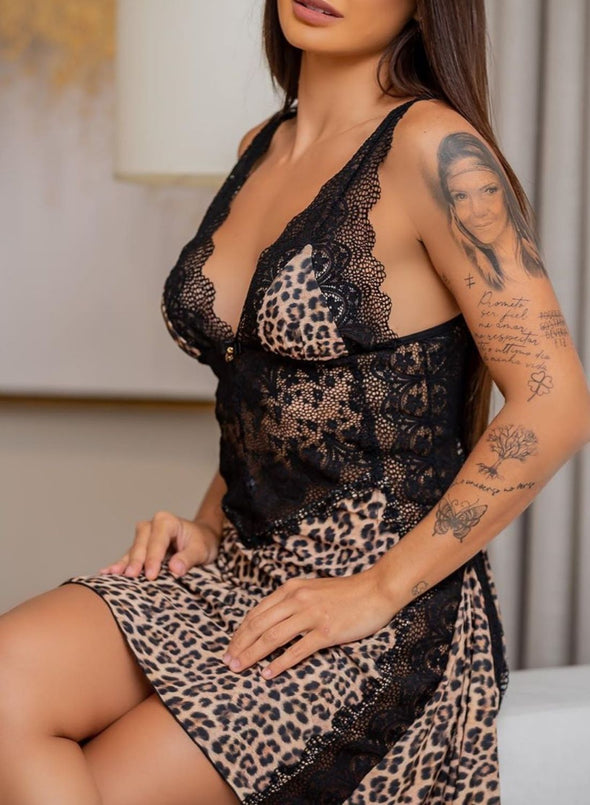 Swimsuitsnova Lace Leopard Camisola Luxuria Lingerie Dress